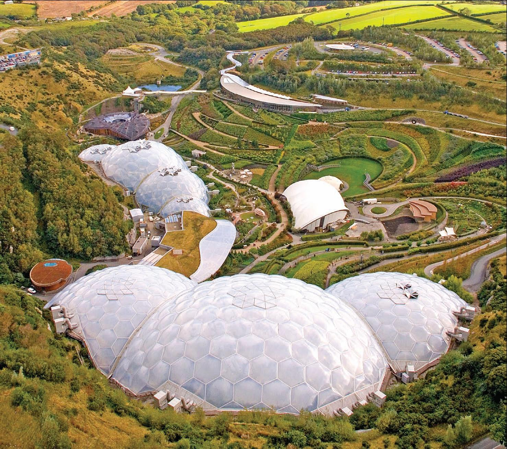 eden project The second phase of the eden project's development refers to the 'biomes', a sequence of eight inter-linked geodesic transparent domes covering 22 ha and encapsulating vast humid tropic and warm temperate regions.